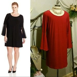 MSK Red Bell Sleeved Cocktail dress 2x